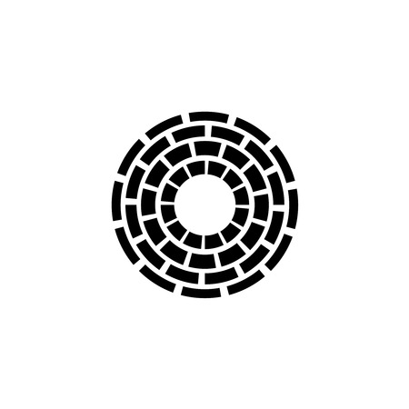 tube top: Abstract concentric circles sign. Wide dashed lines. Well with brick walls top view symbol.