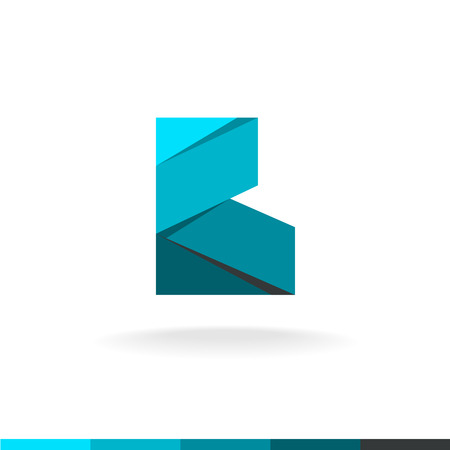 construction industry: Letter B design. Wide deep blue color paper ribbons flat origami style. Angular corner shape.