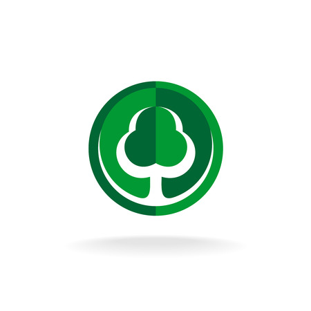 contrast: Flat style tree symbol in a circle. Green and dark green colors contrast sign.