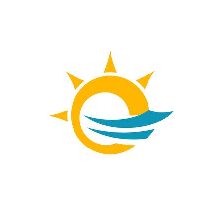carta: Letra E sol y plantilla de mar