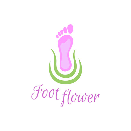 reflexology: Feet care logo. Foot silhouette with green calm natural elements.
