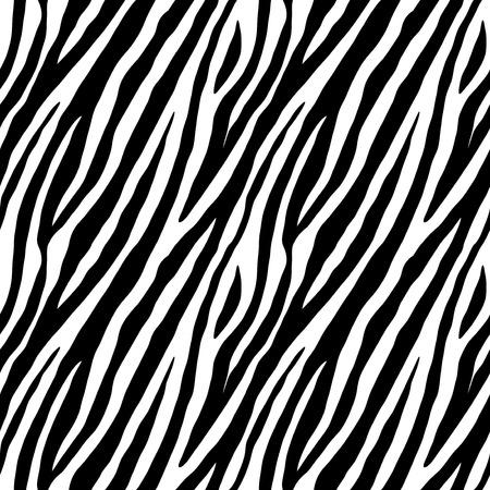 Zebra skin repeated seamless pattern. Black and white colors. 2x2 sample. Vettoriali