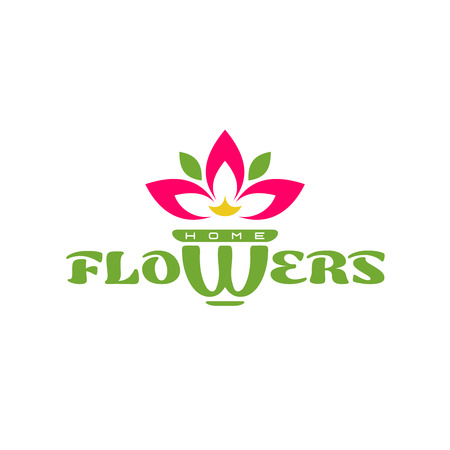 houseplant: Flowers word with letter W as a pot and red leawes of big indoor flower sign.