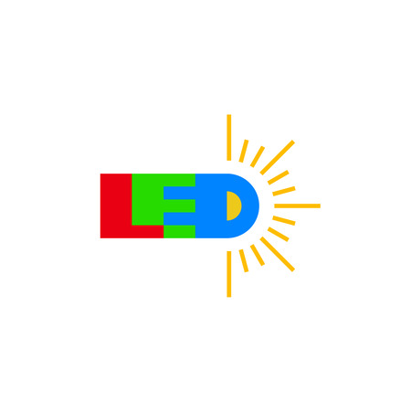 LED technology. Led word with D in a shape of a light emitted diode with light rays around. Illustration