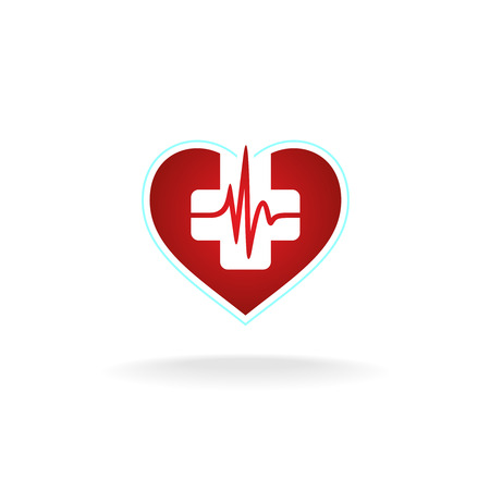 Heart with medical cross and heart beat pulse waveform. Red and white colors.