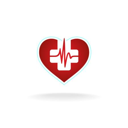 cruz roja: Corazón con la cruz médica y corazón lata de forma de onda de pulso. Colores rojos y blancos.