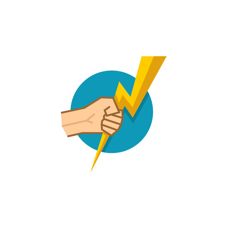 tame: Electrician template. Human hand holding lightning flat style symbol.