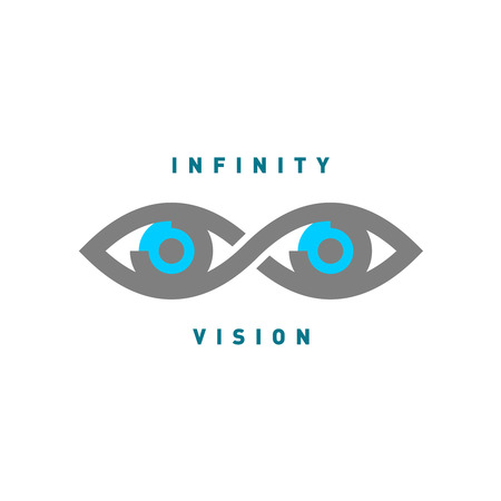 third eye: Eyes in the infinity sign shape. Mono line style, flat gray and blue colors. Illustration