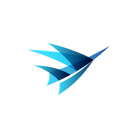 Abstract airplane stylized. Sign of a blue bird rise up. 向量圖像