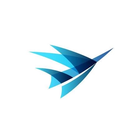 Abstracte vliegtuig gestileerd. Teken van een blauwe vogel opstaan.