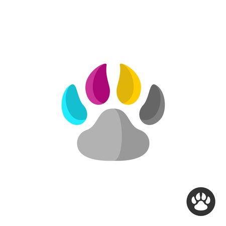 huellas de perro: Colores cmyk Animal impresión de la pata simétrica Vectores