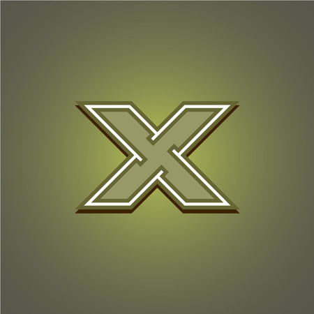 space wars: Letter X geometric construction military. Corner outline style. Illustration