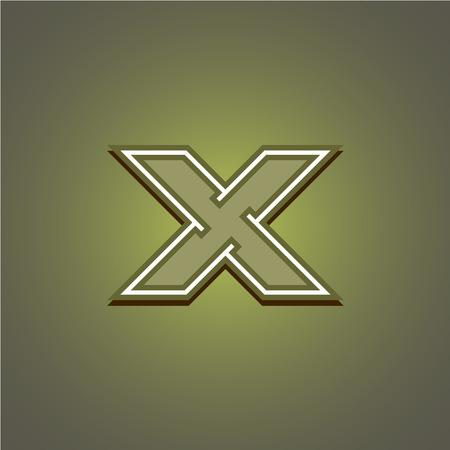 x games: Letter X geometric construction military. Corner outline style. Illustration