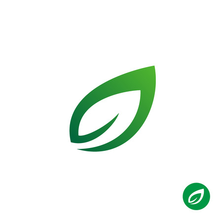 Green leaf symbol. Single contour style plant leaf simple. Vettoriali