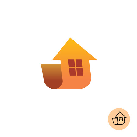 modern house: Building. Arrow up move with house silhouette.