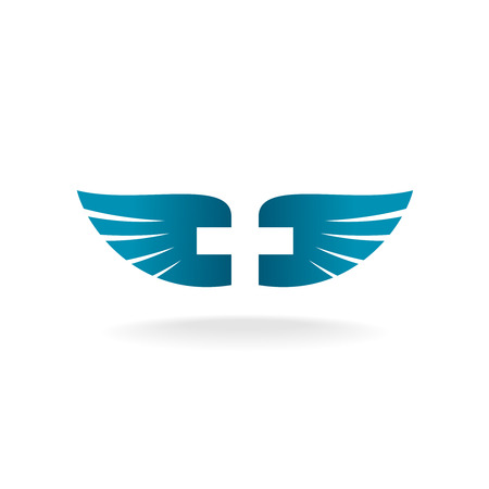 christian symbol: Wings with cross shape at the negative space template