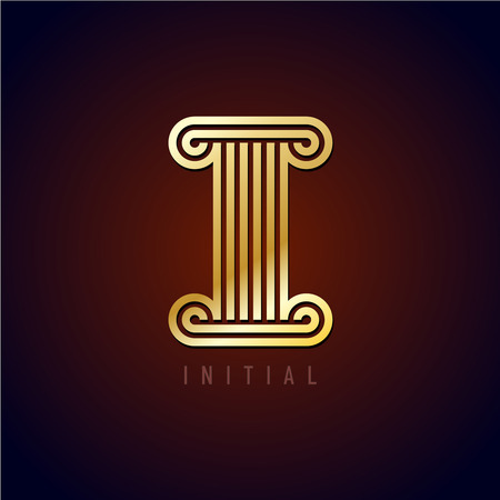 alphabet greek symbols: Capital I letter in a ancient column style. Parallel golden lines monogram style sign.