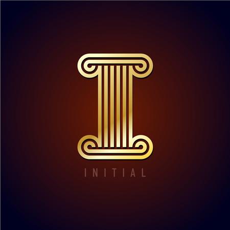 derecho romano: Letra I Capital en un estilo antiguo columna. Líneas de oro paralelas monograma signo estilo.