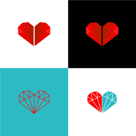 turquiose: Two red diamonds in a heart shape with variations Illustration