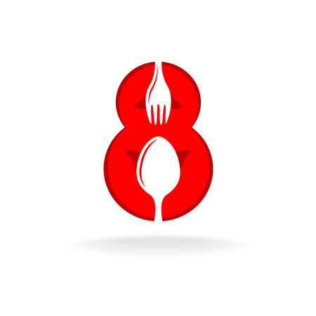 holiday symbol: Womens day March 8 number symbol. Holiday restaraunt menu title decoration. Spoon and fork silhouettes.