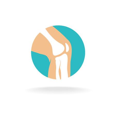 Okrągły symbol kości stawu kolanowego w celach ortopedycznych. Ilustracje wektorowe