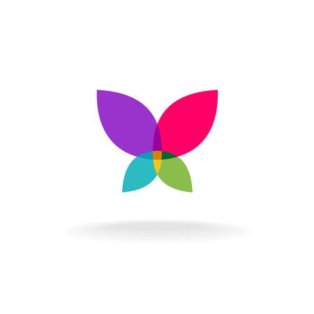 蝶の抽象的な。スロー オープン翼を持つ蝶のカラフルなベクトル シルエット。透明度が平坦化されます。
