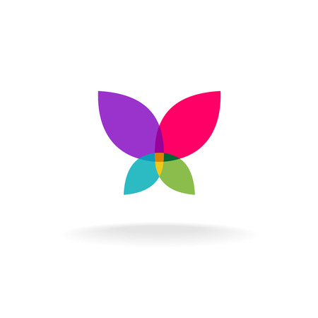 Butterfly abstract. Colorful vector silhouette of a butterfly with throw open wings. Transparency are flattened.