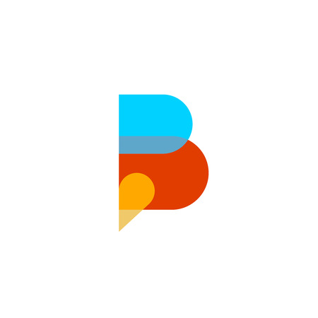 letter b: Letter B. Colorful speech bubble, transparent parts. Transparency are flattened.