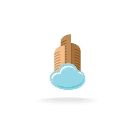 float cloud: Real estate logo with high city buildings and float cloud.