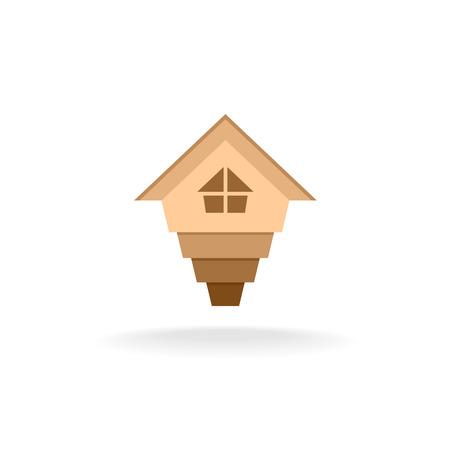 corporate building: 3D arrow up house building template. Grow up process. Illustration