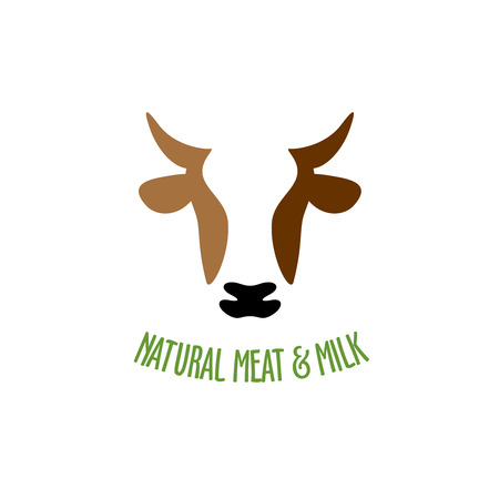 dairy cows: Cow head silhouette vector icon