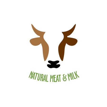 vaca: Icono de vector de la silueta de cabeza de vaca Vectores