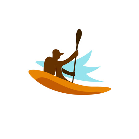 Kayak fishing. Kayaking man silhouette with paddle up.
