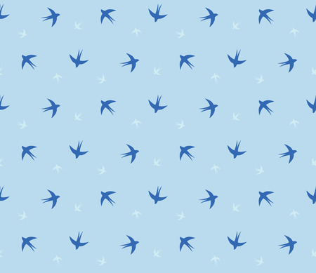 animal pattern: Swallow repeated seamless pattern. Contour of birds on the blue sky backgrounds. 2x3 tiles sample. Illustration
