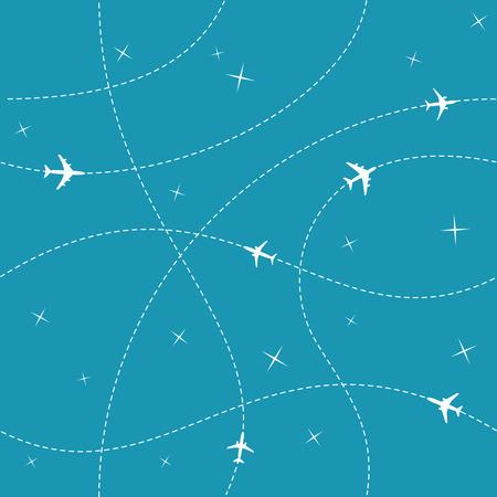 aeroplano: Aerei con traiettorie e le stelle nel cielo blu senza soluzione di continuità vettore. Facile cambiare colore previsto. Vettoriali