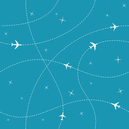 trail: Planes with trajectories and stars on the blue sky seamless vector background. Easy color change provided. Illustration