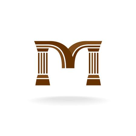 architect: Carta logo M con columnas. Arquitectura, negocio, el concepto de abogado. Vectores