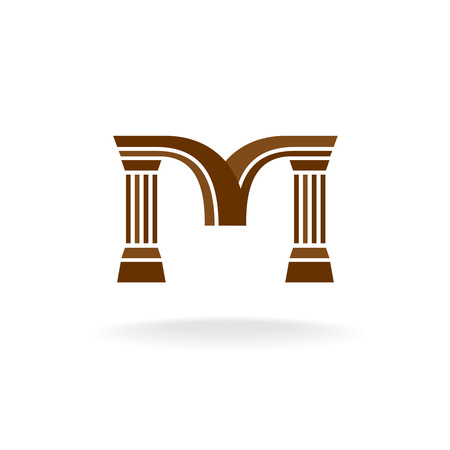 law symbol: Letter M logo with columns. Architecture, business, lawyer concept. Illustration