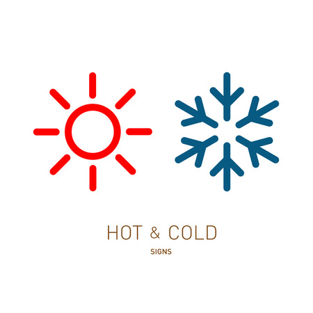 Hot and cold sun and snowflake icons