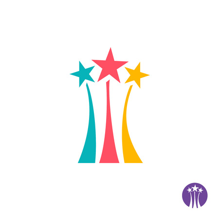 bright: Fireworks logo. Three color stars with long trails sign.