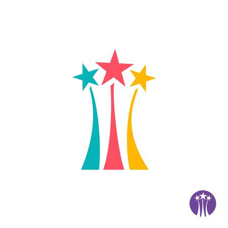 star bright: Fuegos artificiales logotipo. Tres estrellas de colores con rutas largas signo.
