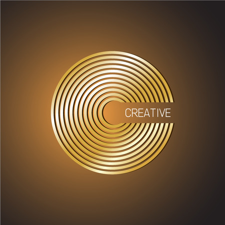 Letter C logo template. Golden wide lines style.
