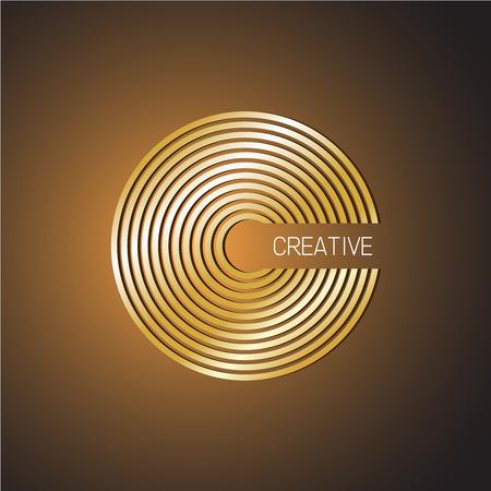 copper background: Letter C logo template. Golden wide lines style. Illustration