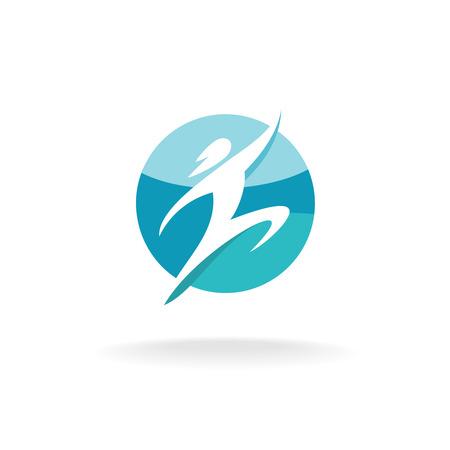 Sport mens rennen en te springen logo template. Silhouet van de mens op een ronde blauwe achtergrond. Stock Illustratie