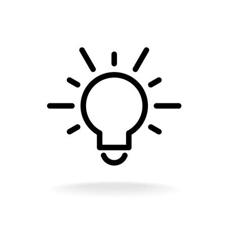 lamp outline: Lamp bulb vector flat icon with light rays. Black outline contour style.
