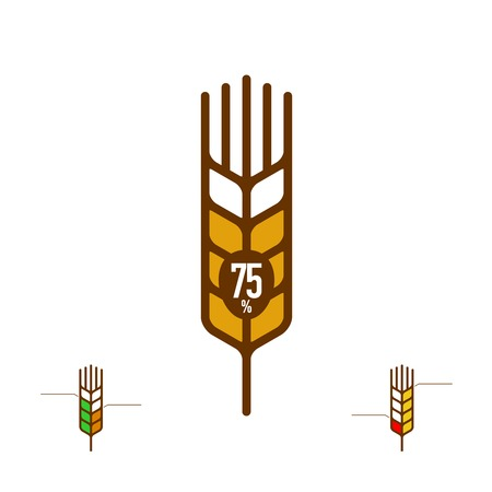 Ears of wheat with indicator of content percentage outline sign. Contour whole grain logo.