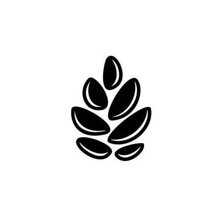 black and white cone: Simple cereal sign. Pine cone or hop symbol. Wheat corn logo.