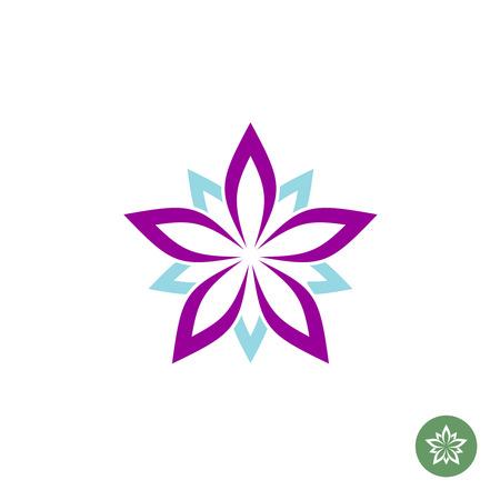 estrellas moradas: Cinco hojas de loto logotipo de la flor plantilla Vectores