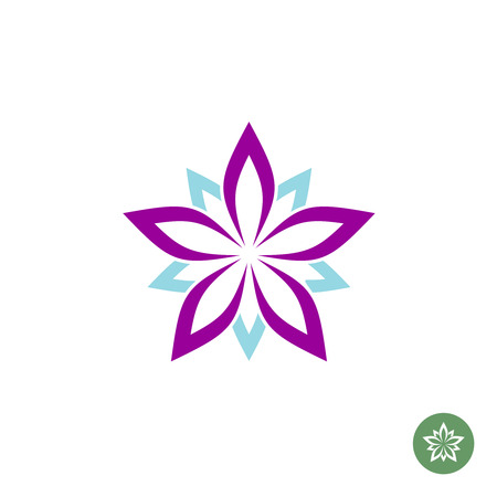 white star line: Five leaves lotus flower logo template