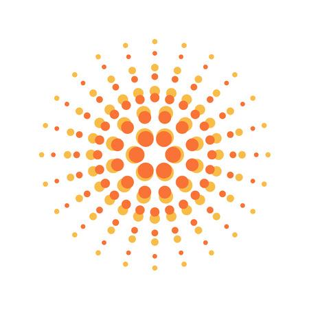 sign orange: Sun burst round orange particles sign Illustration